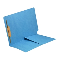 Colored End Tab Folders, Letter, 1/2 Pocket, Fastener Pos 1, 14pt Blue, 50/Bx