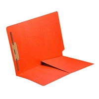 Colored End Tab Folders, Letter, 1/2 Pocket, Fastener Pos 1, 14pt Orange, 50/Bx