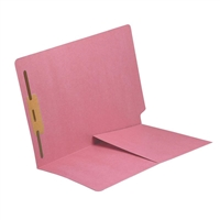 Colored End Tab Folders, Letter, 1/2 Pocket, Fastener Pos 1, 14pt Pink, 50/Bx