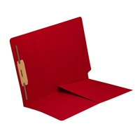 Colored End Tab Folders, Letter, 1/2 Pocket, Fastener Pos 1, 14pt Red, 50/Bx