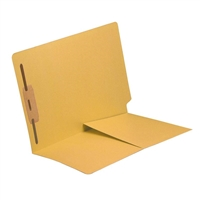 Colored End Tab Folders, Letter, 1/2 Pocket, Fastener Pos 1, 14pt Yellow, 50/Bx