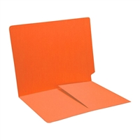 Colored End Tab Folders, Letter, 1/2 Pocket Inside Front, 14pt Orange, 50/Bx