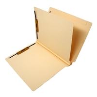 "Classification Folders, End Tab, Letter Size, 2"" Exp, 4 Fasteners, 1 Divider, 14pt Manila 25/Bx"