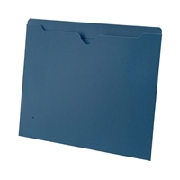 Colored File Jackets, Letter Size, 2-Ply Top Tab, Flat, 11pt Blue, 100/Box