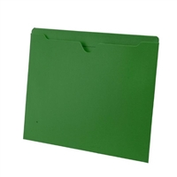 Colored File Jackets, Letter Size, 2-Ply Top Tab, Flat, 11pt Green, 100/Box