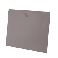Colored File Jackets, Letter Size, 2-Ply Top Tab, Flat, 11pt Gray, 100/Box