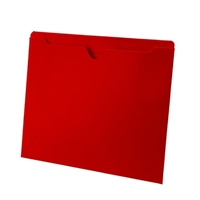 Colored File Jackets, Letter Size, 2-Ply Top Tab, Flat, 11pt Red, 100/Box
