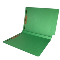 Colored End Tab Fastener Folders, 1-1/2 Expansion, Letter Size, Green, 50/Bx
