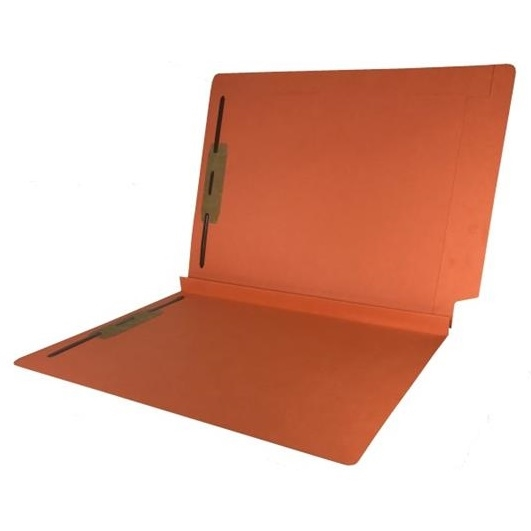 Colored End Tab Fastener Folders, 1-1/2 Expansion, Letter Size, Orange, 50/Bx