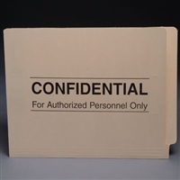Confidential Printed File Folders S-9165, Letter Size, End Tab, Confidential Printed, 11pt, No Fasteners, 50/Bx