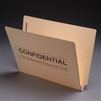 Confidential Printed File Folders S-9166, Letter Size, End Tab, Confidential Printed, 11pt, 2 Fasteners, 50/Bx