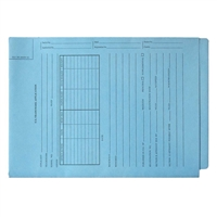 Patent Folders, End Tab, Tri-Fold, Printed 2-Sides, Blue, 25/Box