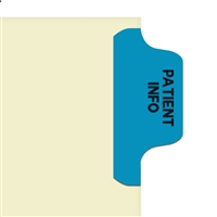 Chart Divider Tab, Position 1, Blue, Patient Info, Pack/100