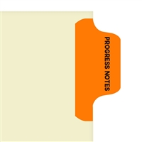 Chart Divider Tab, Position 1, Orange, Progress Notes, Pack/100