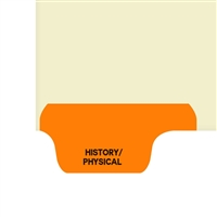 Chart Divider, Bottom Tab, Position 1, Orange, History/Physical, Pack/100
