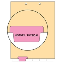 Chart Divider, Bottom Tab, Position 2, Pink, History/Physical, Pack/100