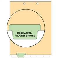 Chart Divider, Bottom Tab, Position 2, Lt. Green, Medication/Progress, Pack/100