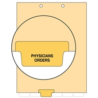 Chart Divider, Bottom Tab, Position 3, Amber, Physicians Orders, Pack/100