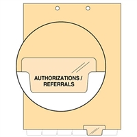 Chart Divider, Bottom Tab, Position 5, Clear, Authorizations/Referrals, Pack/100