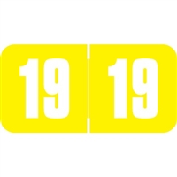 Safeguard Compatible Year Labels, 2019, Yellow 3/4 x 1-1/2, 500/RL