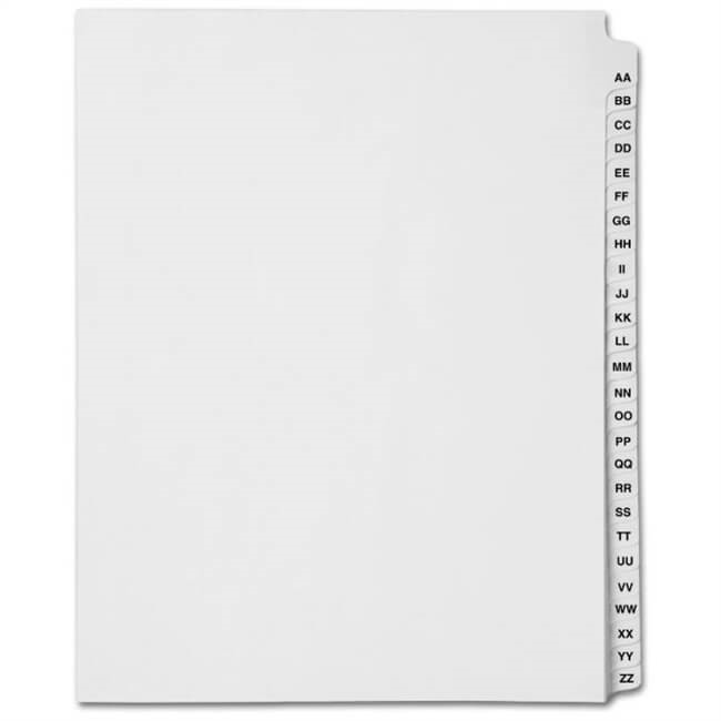 Avery Style Index Dividers - Collated Sets, AA-ZZ
