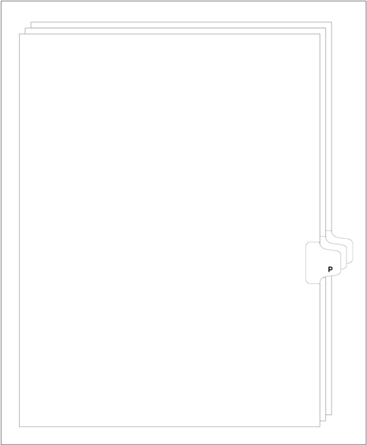 Alphabetic Index Dividers, Alpha P, Letter Size, Side Tab (25 sheets/Pk)