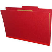 "Pressboard Classification Folders, 2/5-Cut, Legal Size, 2"" Exp, 1 Divider, Type III Deep Red, 10/Box"