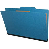 "Pressboard Classification Folders, 2/5-Cut, Legal Size, 2"" Exp, 1 Divider, Type III Royal Blue, 10/Box"