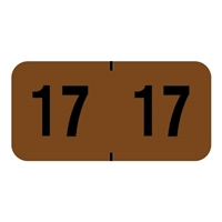 "Traco Year Labels 2017, 3/4""H x 1-1/2""W, Brown/Black, 500/Roll"