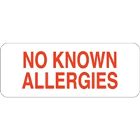 No Known Allergies Label UL810