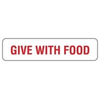 "Give With Food, 1-5/8""W x 3/8""H, White, 500/Roll"