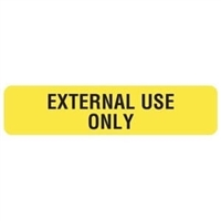 "External Use Only, 1-5/8""W x 3/8""H, Yellow, 500/Roll"
