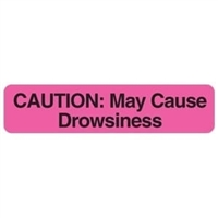 "Caution: May Cause Drowsiness, 1-5/8""W x 3/8""H, Pink, 500/Roll"