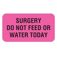 Veterinary Care Instruction Labels, Surgery Do Not Feed, 1-5/8 x 7/8, 560/RL