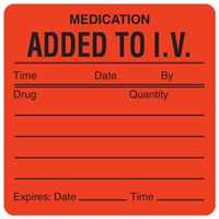 Medication Added to I.V. Label, 2-1/2 x 2-1/2, 390/Roll (V-HH207)