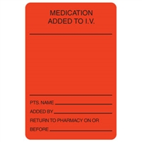 Medication Added to I.V. Label, 2 x 3, 390/Roll (V-HH502)
