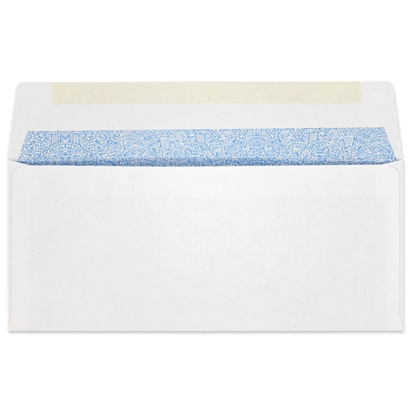 #10 Side Seam Regular Envelopes w/ Extended Flap (4-1/8 x 9-1/2) 24lb White, Blue Security Tint, 500/BX