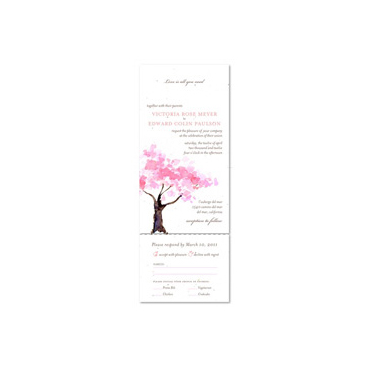 Pink Blossoms Wedding Invitations | Spring Blooms Tree on White seeded paper