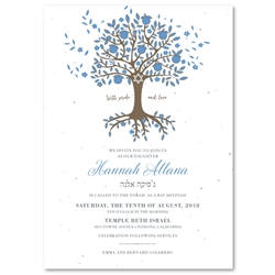 Tree of life Bar Bat Mitzvah Invitations | Abundant Blessings