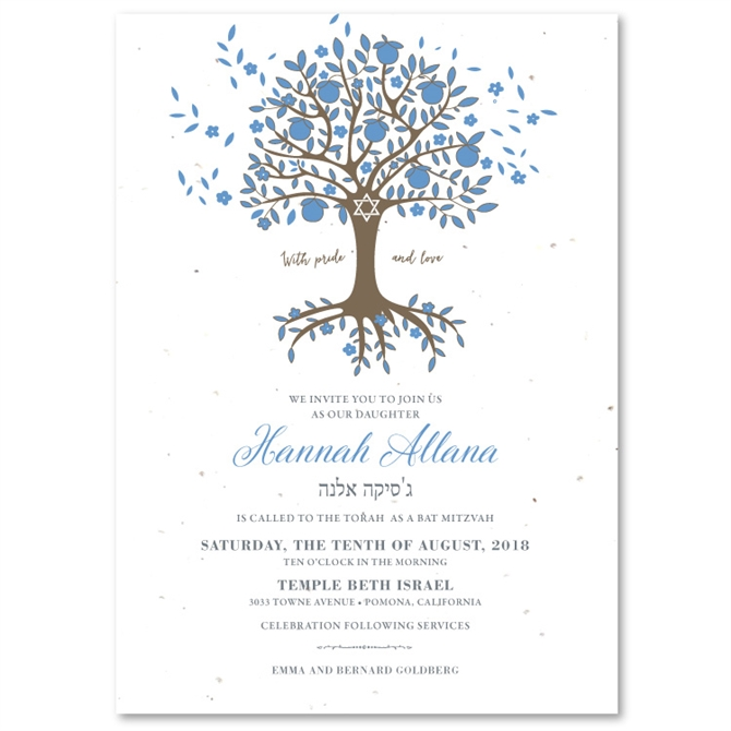 Tree Of Life Invitation Rsvp Celtic Life By: Tree Of Life Bar Bat Mitzvah Invitations On Seeeded Paper