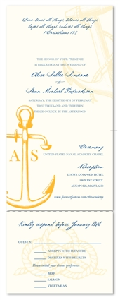 Naval Wedding Invitations ~ The Academy (100% recycled paper)