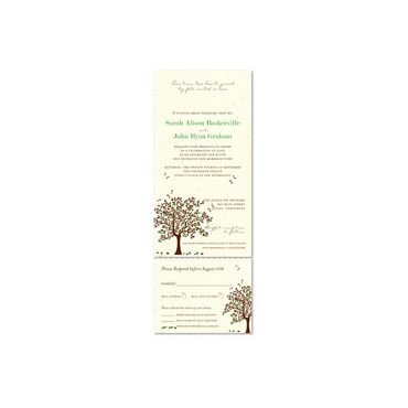 Send n Sealed Wedding invitations on 100% Recycled Paper - Apple Tree