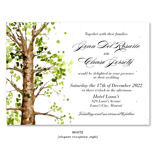 Ancient Elm Tree Wedding Invitation with Green and brown leaves