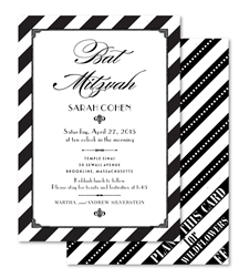 art deco Bat Mitzvah Invitations on black and white pattern