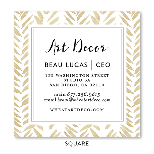 Chevron Business Cards Seeded Flower | Gold Wheat