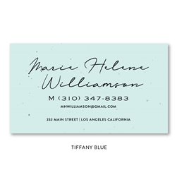 Seeded Paper Script Business Cards Tiffany Blue | Rosa Park