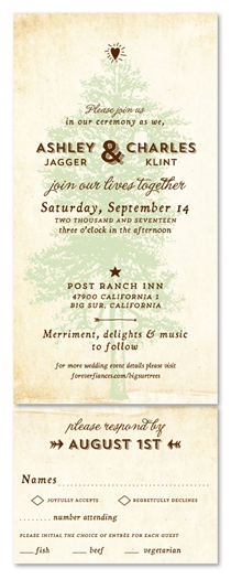 Vintage Tree Wedding Invitations | Big Sur Trails (100% recycled paper)