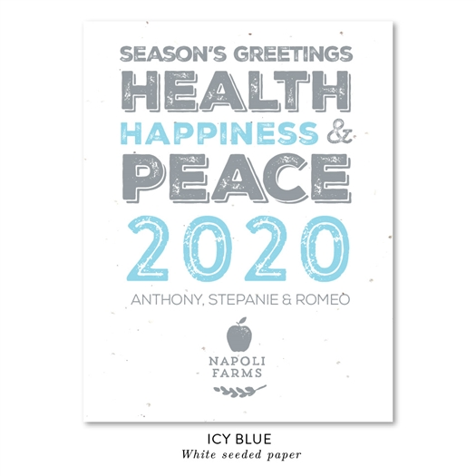 Bold Type Business Holiday Greeting Cards, Blue vintage font