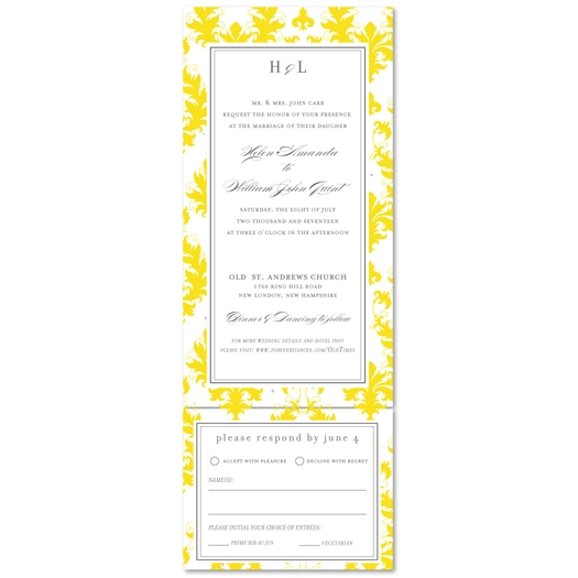 Damask Wedding Invitations | Bright Old Times (Send and sealed format)