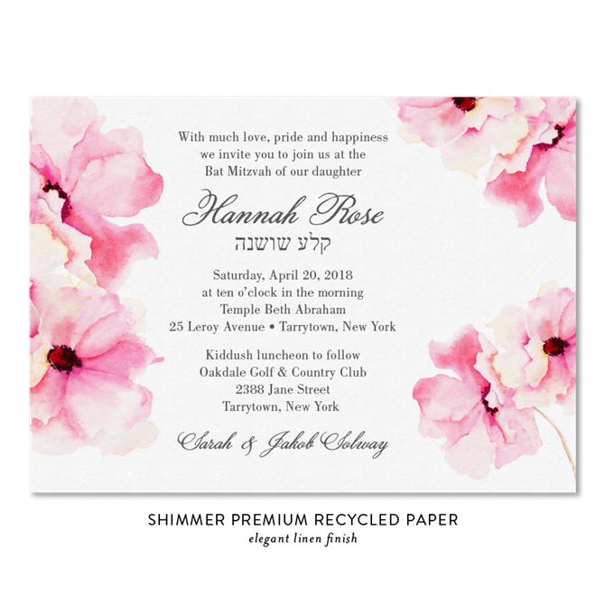 roses bat mitzvah invitations on 100 recycled paper delicate